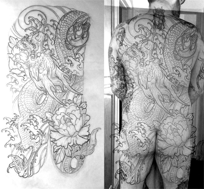 Dragon Tattoo back piece