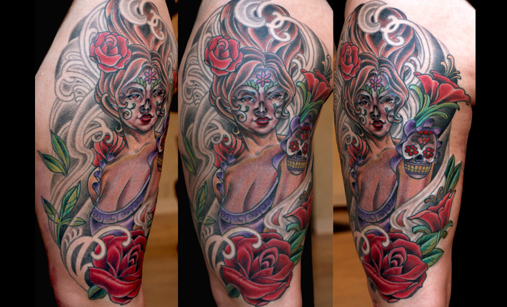 Day of the Dead Tattoo at San Diego's Remington Tattoo by Terry Ribera