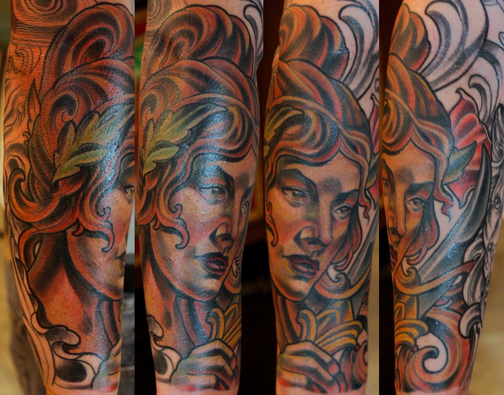 Top San Diego Tattoo Artists - Terry Ribera - Custom Greek Girl Tattoo