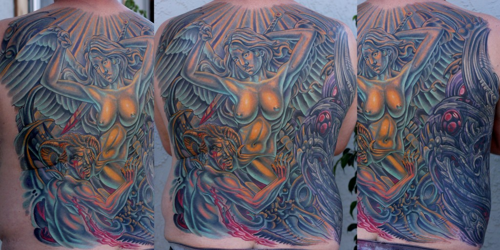 Tattoo Artist in San Diego, CA - Terry Ribera - Back Tattoo with Devil & Angel