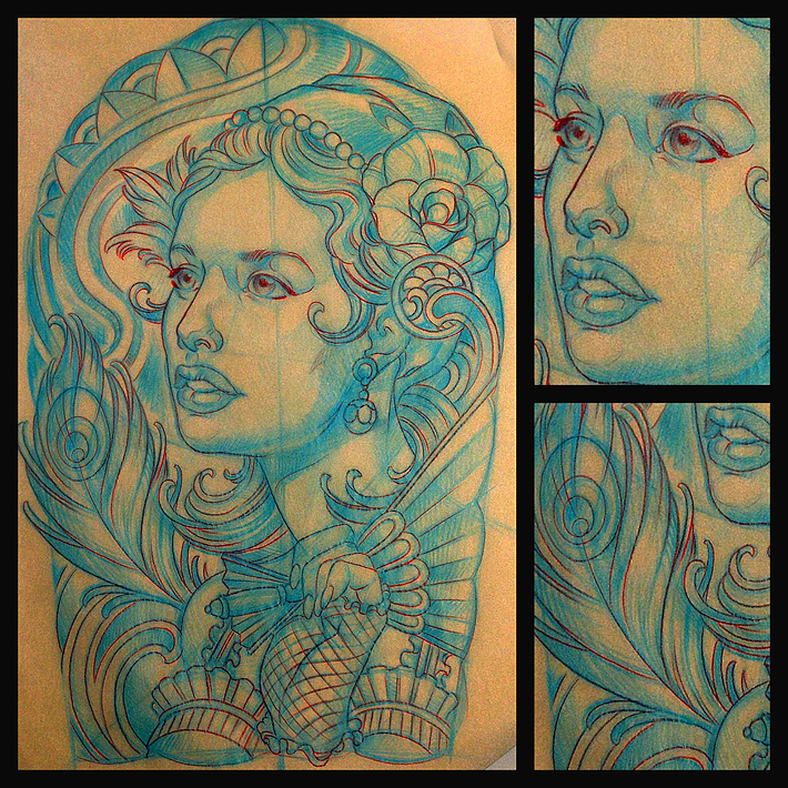 San Diego CustomTattoo Artist Terry Ribera makes an Art Nouveau Girl with Peacock Feather and Roses.